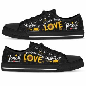LTS-W-Job-Vy1SflLove-2Tcer-0 @ 2nd Grade Teacher Sunflower Love 2nd Grade-2Nd Grade Teacher Sunflower Teach Love Inspire Low Top Shoes