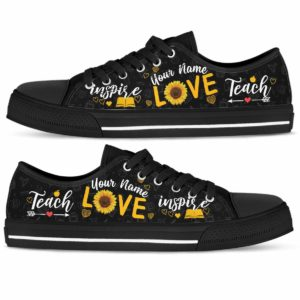 LTS-W-Job-Vy1SflLove-Tcer-0 @ Teacher Sunflower Love Your Name-Teacher Custom Name Sunflower Teach Love Inspire Low Top Shoes