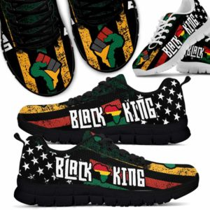 SS-U-Ctry-Vy1BlacKingFlag-Jute-0 @ Juneteenth Black King Flag-Juneteenth Independence Day Sneakers Gym Running Shoes. African American Black King Flag Customizable Shoes. Gift For Women Men.