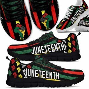 SS-U-Ctry-Vy1FlagHandJune-Jute-0 @ Flag Hand Juneteenth-Juneteenth Independence Day Sneakers Gym Running Shoes. African American Juneteenth Hand Customizable Shoes. Gift For Women Men.