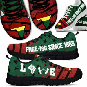SS-U-Ctry-Vy1FreeFlag-Jute-0 @ Juneteenth Free Flag-Juneteenth Independence Day Sneakers Gym Running Shoes. African American Love Free Since 1865 Customizable Shoes. Gift For Women Men.