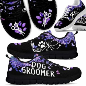 SS-U-Job-LaveFram-Dgrm-0 @ Dog Groomer Lavender Frame-Dog Groomer Lavender Flower Love Sneakers Shoes