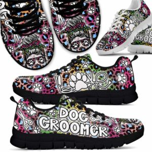 SS-U-Job-LoveBohoSkul-Dgrm-0 @ Dog Groomer Love Boho Skull-Dog Groomer Leopard Gradient Sneakers Shoes