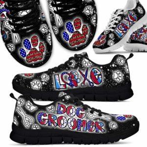 SS-U-Job-LoveLeopFlag-Dgrm-1 @ Dog Groomer Love Leopard Flag-Dog Grooming Leopard Usa Sneakers Shoes