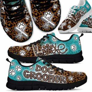 SS-U-Job-LoveLeopGrd-Dgrm-0 @ Dog Groomer Love Leopard Gradient-Dog Grooming Leopard Teal Sneakers Shoes