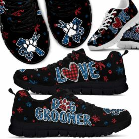 Dog Groomer Love Red Blue Pattern Sneakers Shoes