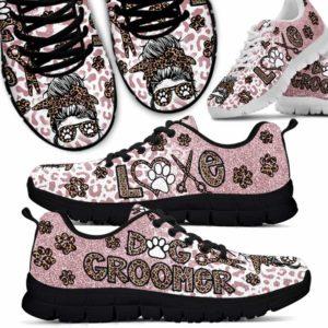 SS-U-Job-LovePinkLeop-Dgrm-0 @ Dog Groomer Love Pink Leopard-Dog Groomer Leopard Pink Sneakers Shoes