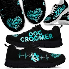 Dog Groomer Heartbeat Teal Sneakers Shoes