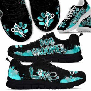 SS-U-Job-LoveTealWate-Dgrm-0 @ Dog Groomer Love Teal Watercolor-Dog Groomer Love Watercolor Teal Sneakers Shoes