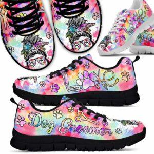 SS-U-Job-PastTieDye-Dgrm-0 @ Dog Groomer Pastel Tie Dye-Proud Dog Groomer Furologist Sneakers Gym Running Shoes. Dog Grooming Tie Dye Pastel Customizable Personalized Shoes. Gift For Women, Men.