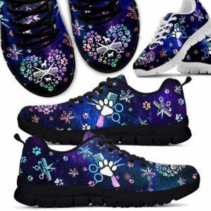 SS-U-Job-Vy1PawScisHearGlxy-Dgrm-0 @ Dog Groomer Paw Scissor Heart Galaxy-Dog Groomer Paw Pattern Heart Galaxy Sneakers Shoes