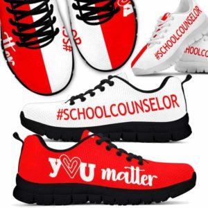 SS-U-Job-Vy1RedWhitYouMatt-Csl-0 @ Counselor Red White You Matter-Red White School Counselor You Matter Sneakers Shoes