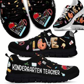 Kindergarten Teacher Colorful Tools Love Sneakers Shoes