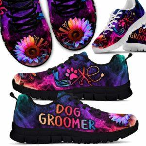 SS-W-Job-SflDogGrooSmok-Dgrm-0 @ Sunflower Dog Groomer Smoke-Sunflower Love Colorful Smoke Dog Groomer Sneakers Shoes