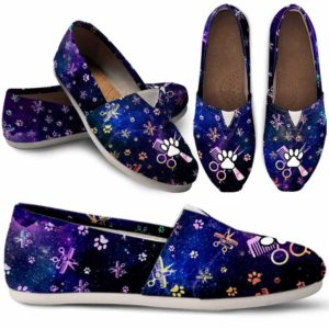 WCS-U-Job-PawSissBlueGlxy-Dgrm-0 @ Dog Groomer Paw Sissors Blue Galaxy-Dog Groomer Paws Galaxy Womens Casual Shoes
