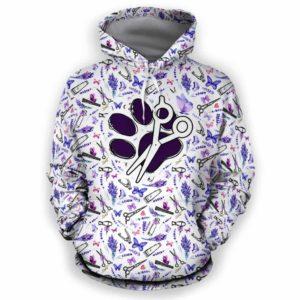 AOPH-U-Job-LaveToolPtn-Dgrm-0 @ Dog Groomer Lavender Tools Pattern-Pet Groomer Lavender Tools Pattern All Over Print Hoodie