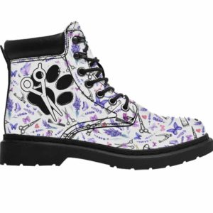 ASB-U-Job-LaveToolPtn-Dgrm-0 @ Dog Groomer Paw Sissors Blue Galaxy-Pet Groomer Lavender Tools Pattern All Season Boots