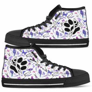 HTS-U-Job-LaveToolPtn-Dgrm-0 @ Dog Groomer Lavender Tools Pattern-Pet Groomer Lavender Tools Pattern High Top Shoes