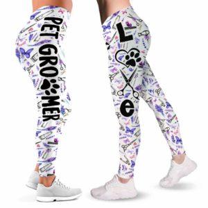 LEGG-W-Job-LaveToolPtn-Dgrm-0 @ Dog Groomer Lavender Tools Pattern-Pet Groomer Lavender Tools Pattern Leggings