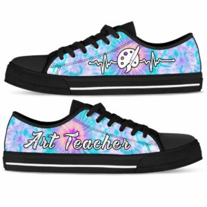 LTS-U-Job-Vy1ArtTeacTieDye-Atcr-0 @ Art Teacher Tie Dye-Art Teacher Tie Dye Heartbeat Low Top Shoes