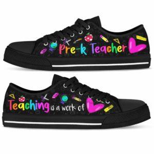 LTS-U-Job-Vy1ColoTeacHear-PreK-0 @ Pre K Teacher-Pre K Teacher Teaching Is A Work Of Heart Low Top Shoes