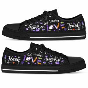 LTS-U-Job-Vy1LaveLove-Atcr-0 @ Art Teacher Lavender Love-Art Teacher Lavender Teach Love Inspire Low Top Shoes