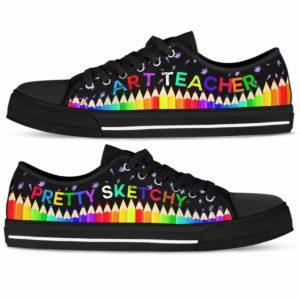 LTS-U-Job-Vy1LavePenc-Atcr-0 @ Art Teacher Lavender Pencil-Art Teacher Pencils Pretty Sketchy Low Top Shoes