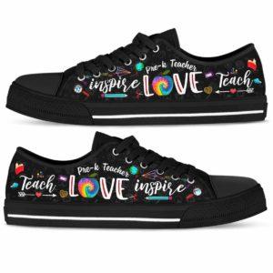 LTS-U-Job-Vy1TieDyeLove-PreK-0 @ Pre K Teacher-Pre K Teacher Tie Dye Teach Love Inspire Low Top Shoes