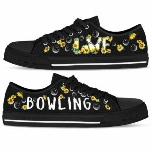 LTS-W-Hobb-Vy1LoveSflBall-Bwl-0 @ Bowling Love Sunflower Balls-Bowling Sunflower Balls Love Pattern Low Top Shoes