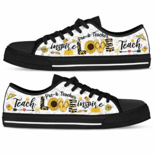 LTS-W-Job-Vy1SflShoeLove-PreK-0 @ Pre K Teacher-Pre K Teacher Sunflower Teach Love Inspire Low Top Shoes