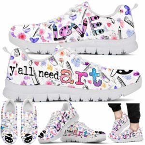 SS-U-Job-Vy1ColoFlowPtn-Atcr-0 @ Art Teacher Colorful Flowers Pattern-Art Teacher Colorful Flowers Yall Need Art Sneaker Shoes