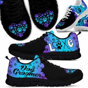SS-U-Job-Vy1GrdLoveHear-Dgrm-0 @ Dog Groomer Gradient Love Heart-Teal Purple Dog Groomer Gradient Love Heart Sneakers Shoes