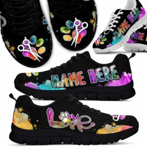 SS-U-Job-Vy1LoveWate-Dgrm-9 @ Dog Groomer Name Here-Custom Name Colorful Watercolor Sneakers Shoes