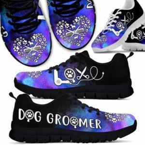 SS-U-Job-Vy1WateLoveHear-Dgrm-0 @ Dog Groomer Watercolor Love Heart-Teal Purple Dog Groomer Watercolor Love Heart Sneakers Shoes