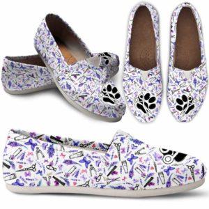 WCS-U-Job-LaveToolPtn-Dgrm-0 @ Dog Groomer Lavender Tools Pattern-Pet Groomer Lavender Tools Pattern Women Casual Shoes