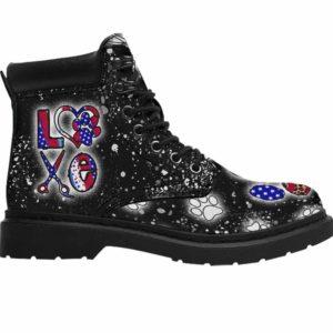 ASB-U-Job-LoveLeopFlag-Dgrm-0 @ Dog Groomer Love Leopard Flag-Dog Groomer Love Leopard Usa Flag All Season Boots