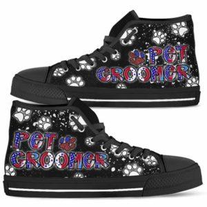 HTS-U-Job-LoveLeopFlag-Dgrm-0 @ Dog Groomer Love Leopard Flag-Dog Groomer Leopard Usa Flag Paw Pattern High Top Shoes