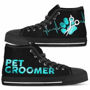 HTS-U-Job-LoveTealGlxy-Dgrm-0 @ Dog Groomer Love Teal Galaxy-Dog Groomer Teal Heartbeat High Top Shoes