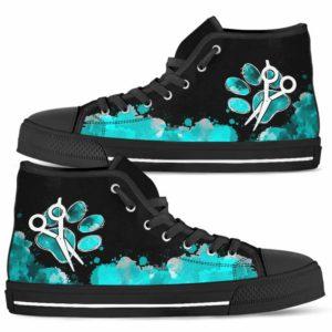 HTS-U-Job-LoveTealWate-Dgrm-0 @ Dog Groomer Love Teal Watercolor-Dog Groomer Teal Watercolor Paw Scissors High Top Shoes