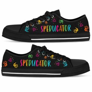 LTS-U-Job-ColoHandPtn-Sped-210802NA10 @ Sped Teacher Colorful Hand Pattern-Sped Teacher Colorful Hands Speducator Low Top Shoes