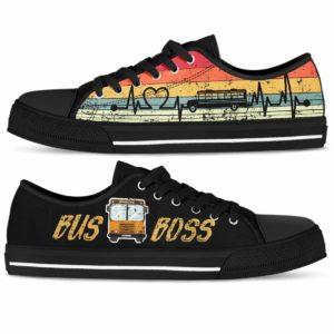 LTS-U-Job-RetrBusBoss-Sbdr-210814NA10 @ Bus Driver Retro Bus Boss-School Bus Driver Retro Heartbeat Low Top Shoes