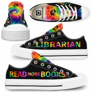 LTS-U-Job-TieDyeBoo-T11-210820VY10 @ Librarian Tie Dye Boo-Librarian Colorful Tie Dye Read More Books Low Top Shoes