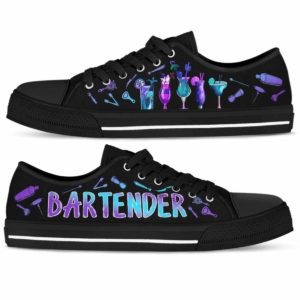 LTS-U-Job-Vy1ColoCock-Btd-0 @ Bartender Colorful Cocktail-Bartender Gradient Cocktails Pattern Low Top Shoes