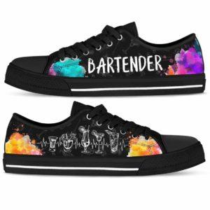 LTS-U-Job-Wate-Btd-0 @ Bartender Drinks Heart Beat-Bartender Heartbeat Watercolor Drinks Low Top Shoes