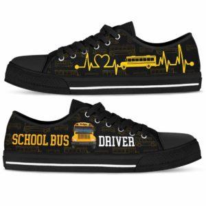 LTS-U-Job-YellHearBeat-Sbdr-210814NA10 @ Bus Driver Yellow Heart Beat-School Bus Driver Yellow Heartbeat Low Top Shoes