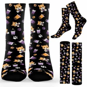 SOCK-U-Hobb-CorgTe-Btea-210910VY10 @ Bubble Tea Corgi Te-Bubble Tea Corgi And Tea Pattern Socks