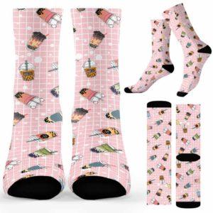 SOCK-U-Hobb-MilkTeaPin-Btea-210910VY10 @ Bubble Tea Milk Tea Pin-Bubble Tea Milk Tea Pattern Pink Socks