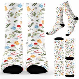 SOCK-U-Hobb-PlanPatt-Gard-210910VY10 @ Gardening Plant Patter-Gardener Plants Pattern Socks
