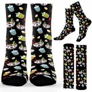 SOCK-U-Hobb-RameMil-Btea-210910VY10 @ Bubble Tea Ramen Mil-Bubble Tea Ramen Bubble Tea Pattern Socks