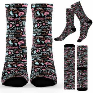 SOCK-U-Nur-LeopPastToolRain-Nur-210910NA10 @ Nurse Leopard Pastel Tools Rainbo-Nurse Strong Typography Pattern Socks